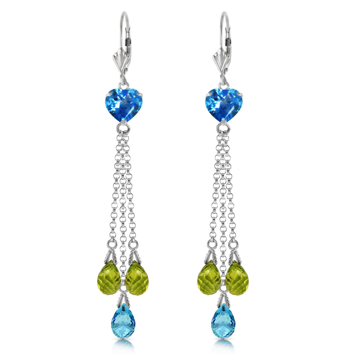 Blue Topaz & Peridot Vestige Drop Earrings in 9ct White Gold