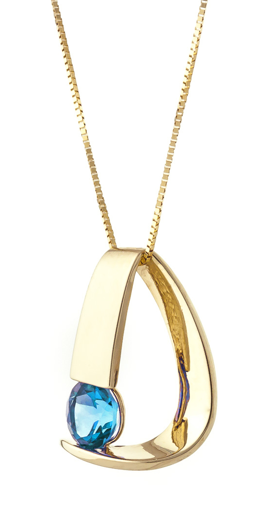 Blue Topaz Arc Pendant Necklace 1 ct in 9ct Gold