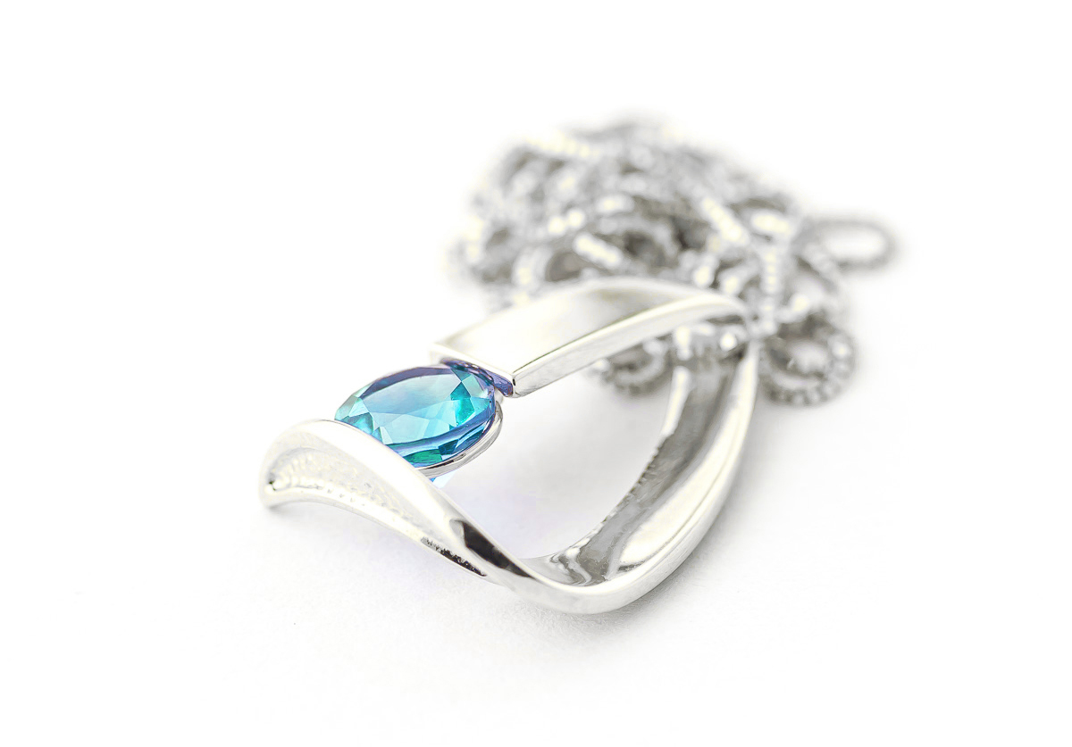 Blue Topaz Arc Pendant Necklace 1 ct in 9ct White Gold