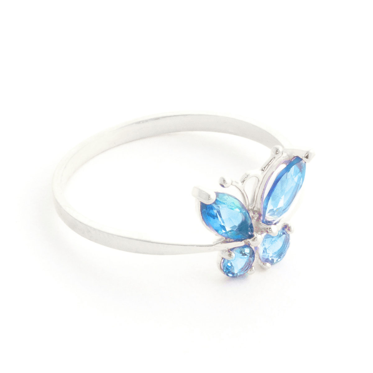 Blue Topaz Butterfly Ring 0 6 ctw in Sterling Silver