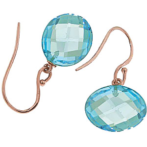 Blue Topaz Chequer Drop Earrings 12 ctw in 9ct Rose Gold