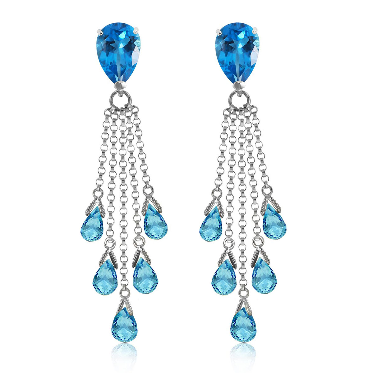 Blue Topaz Comet Tail Drop Earrings 15.5 ctw in 9ct White Gold