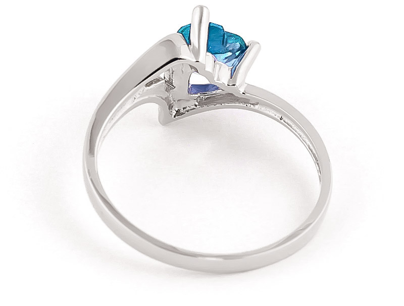Blue Topaz Devotion Ring 0.95 ct in Sterling Silver