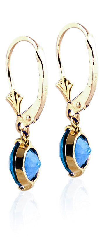 Blue Topaz Drop Earrings 3.1 ctw in 9ct Gold