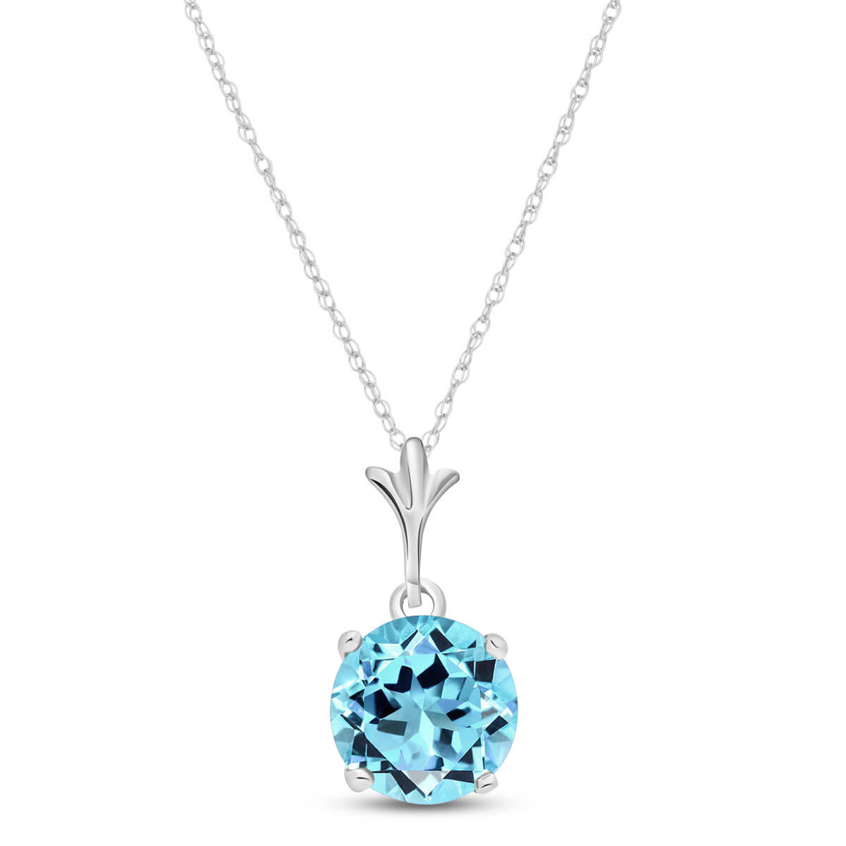 Blue Topaz Drop Pendant Necklace 1.15 ct in 9ct White Gold