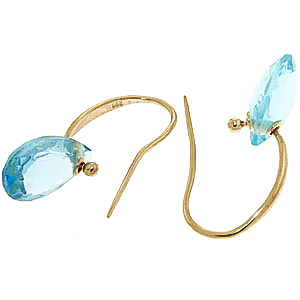 Blue Topaz Droplet Earrings 8 ctw in 9ct Gold