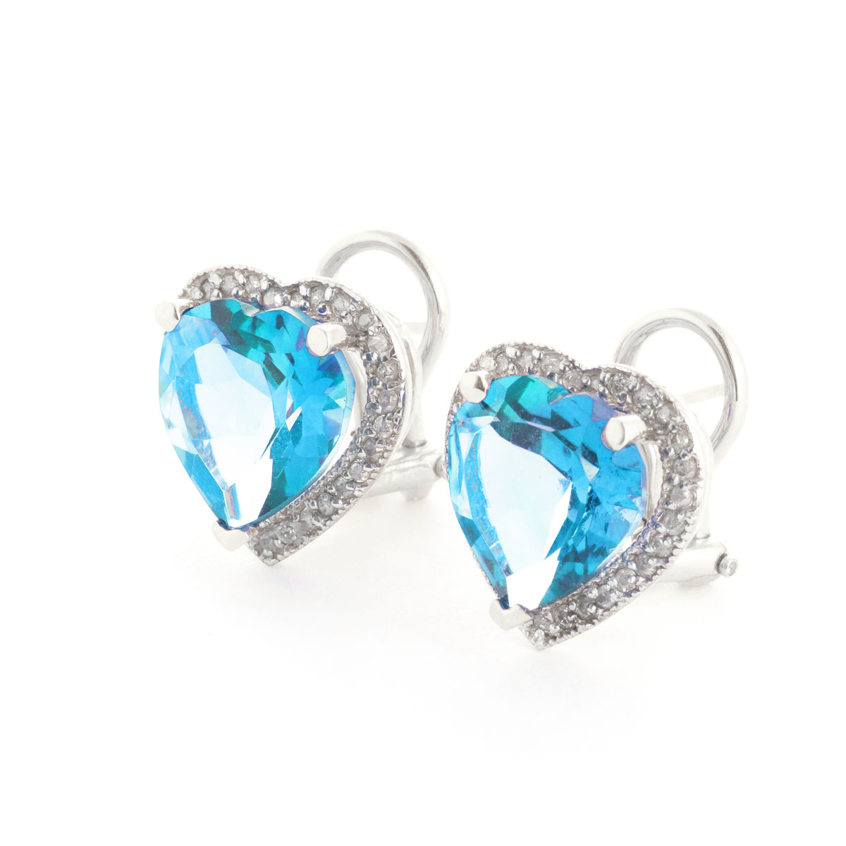 Blue Topaz French Clip Halo Earrings 12.88 ctw in 9ct White Gold