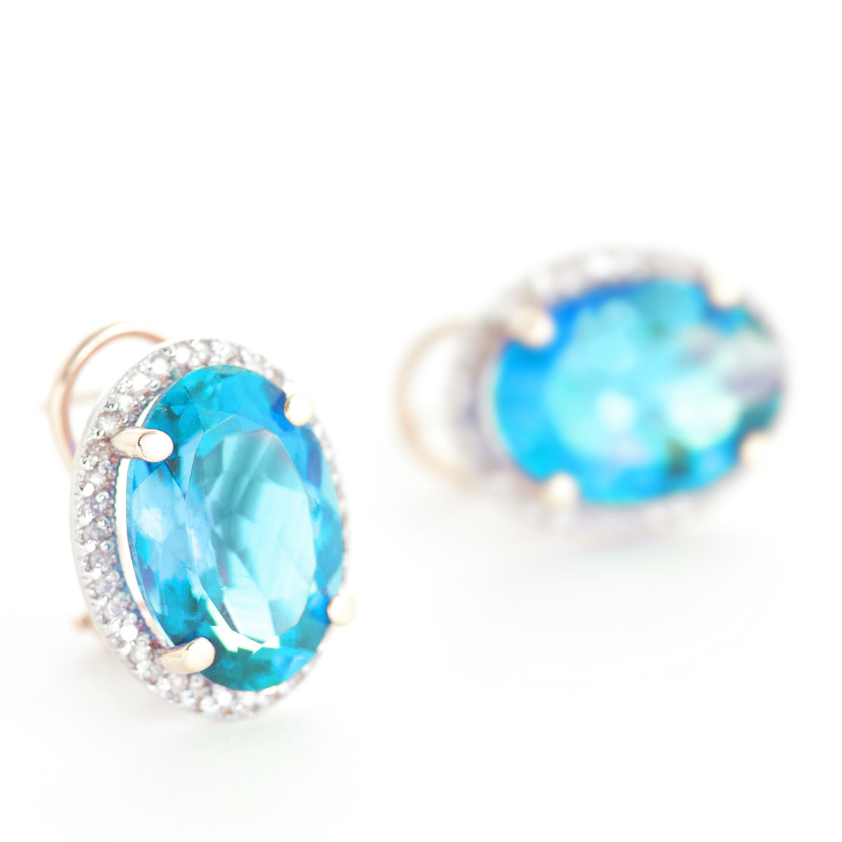 Blue Topaz French Clip Halo Earrings 15.16 ctw in 9ct Rose Gold