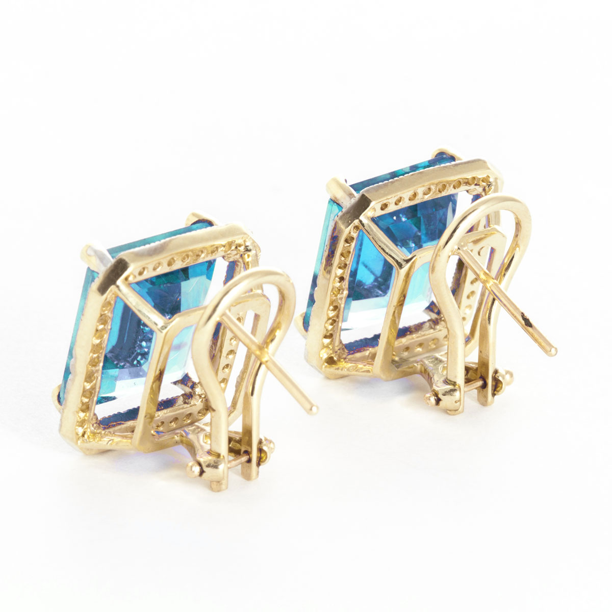 Blue Topaz French Clip Halo Earrings 15.6 ctw in 9ct Gold