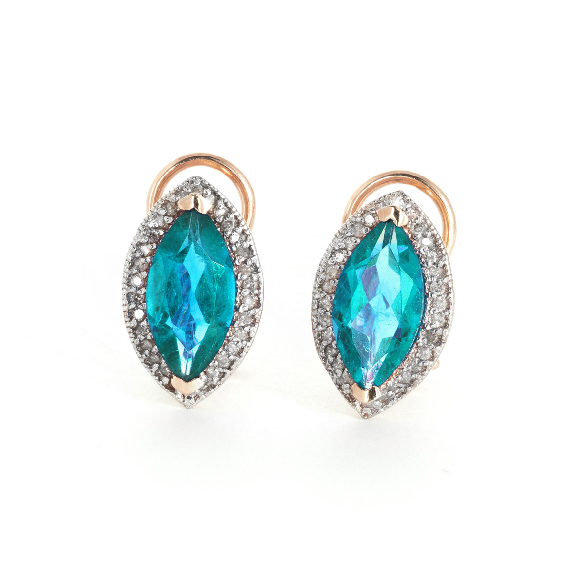 Blue Topaz French Clip Halo Earrings 4.8 ctw in 9ct Rose Gold