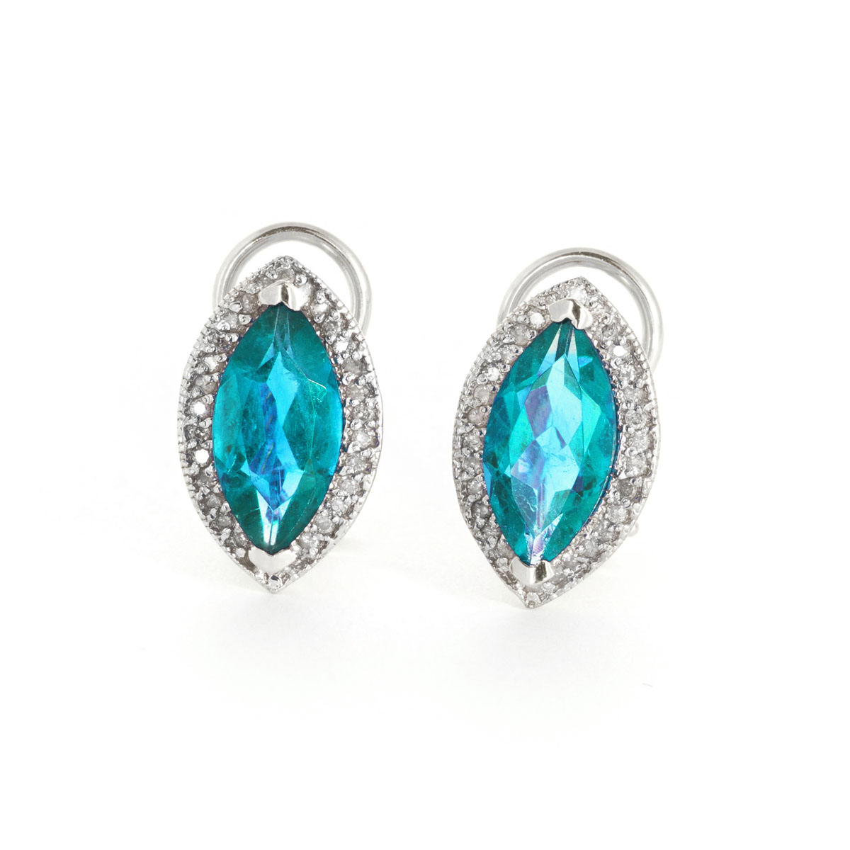 Blue Topaz French Clip Halo Earrings 4.8 ctw in 9ct White Gold
