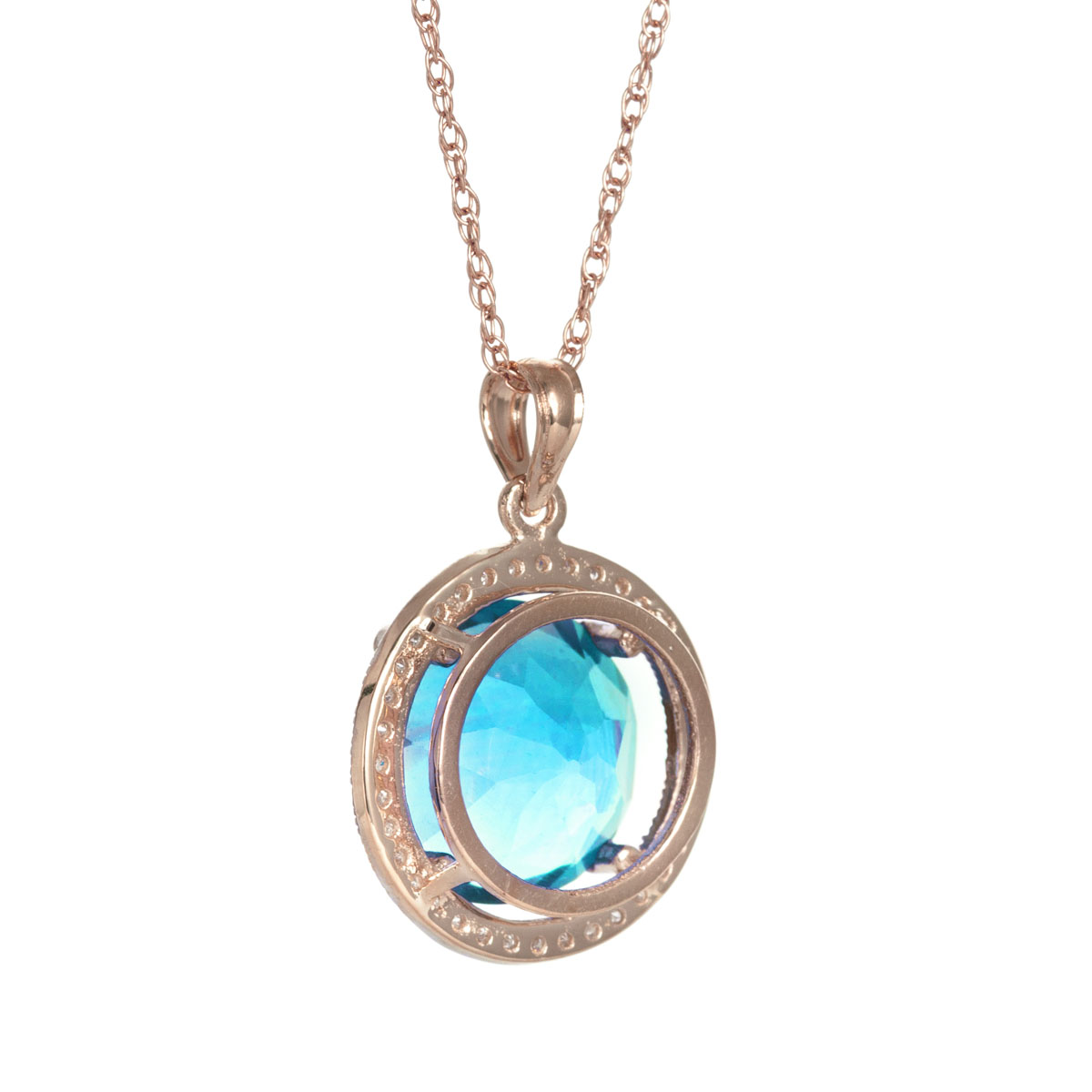 Blue Topaz Halo Pendant Necklace 8 ctw in 9ct Rose Gold