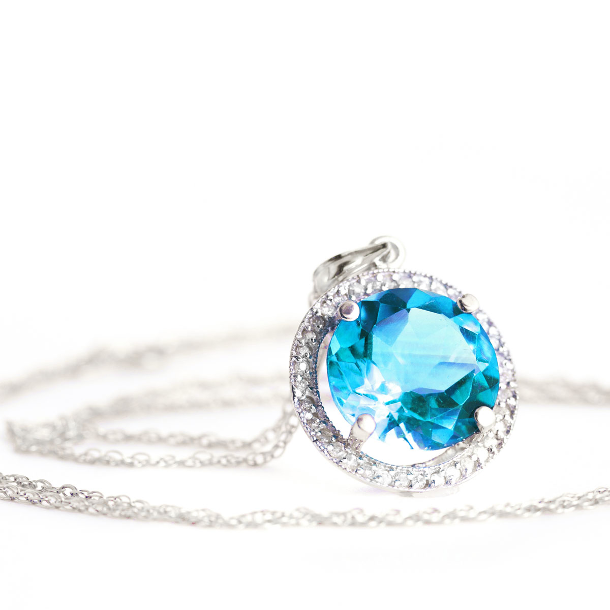 Blue Topaz Halo Pendant Necklace 8 ctw in 9ct White Gold