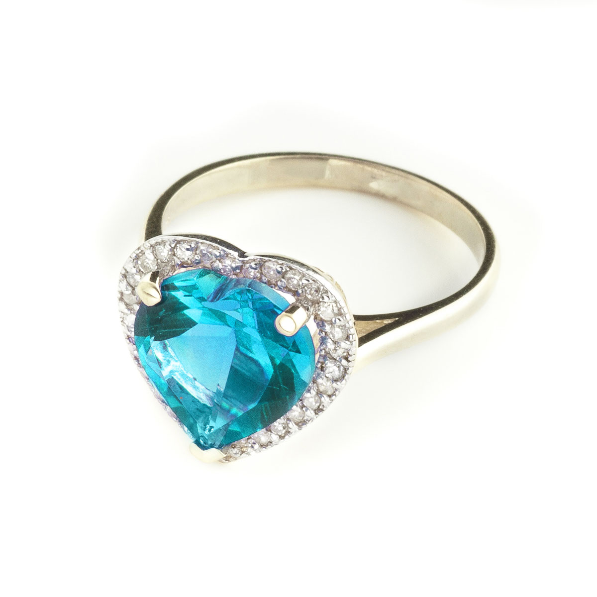 Blue Topaz Halo Ring 6.44 ctw in 9ct Gold