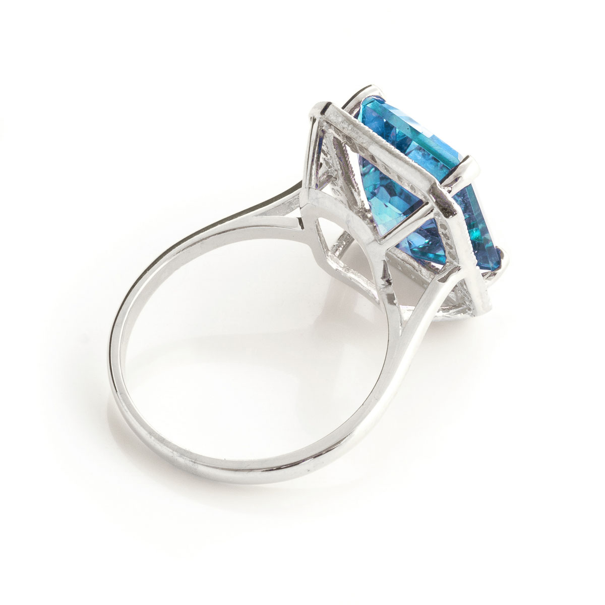 Blue Topaz Halo Ring 7.8 ctw in 9ct White Gold