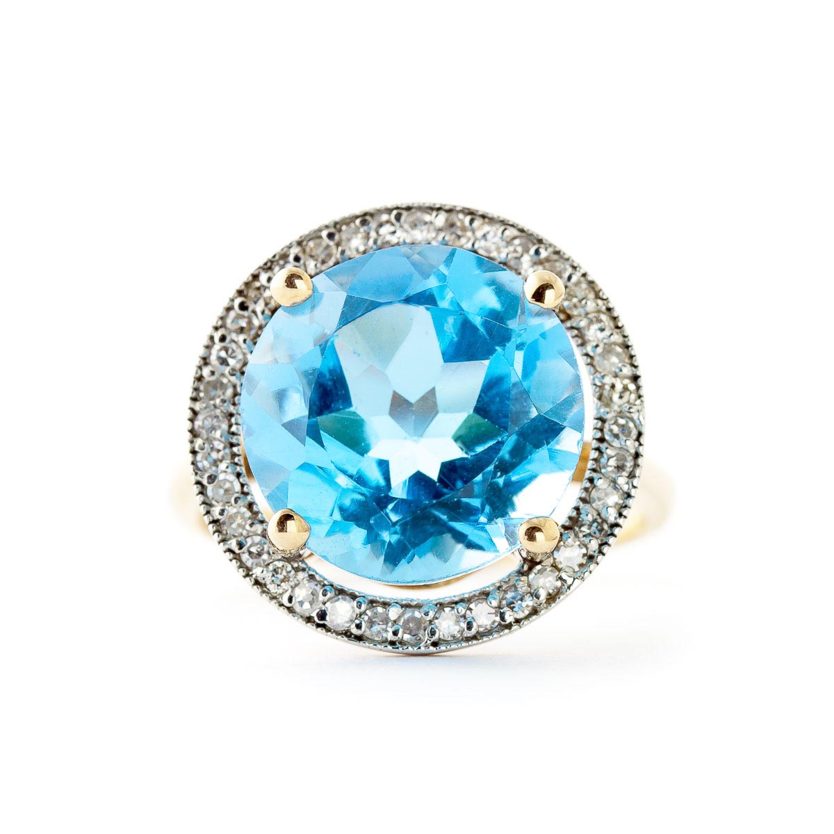 Blue Topaz Halo Ring 8 ctw in 9ct Gold