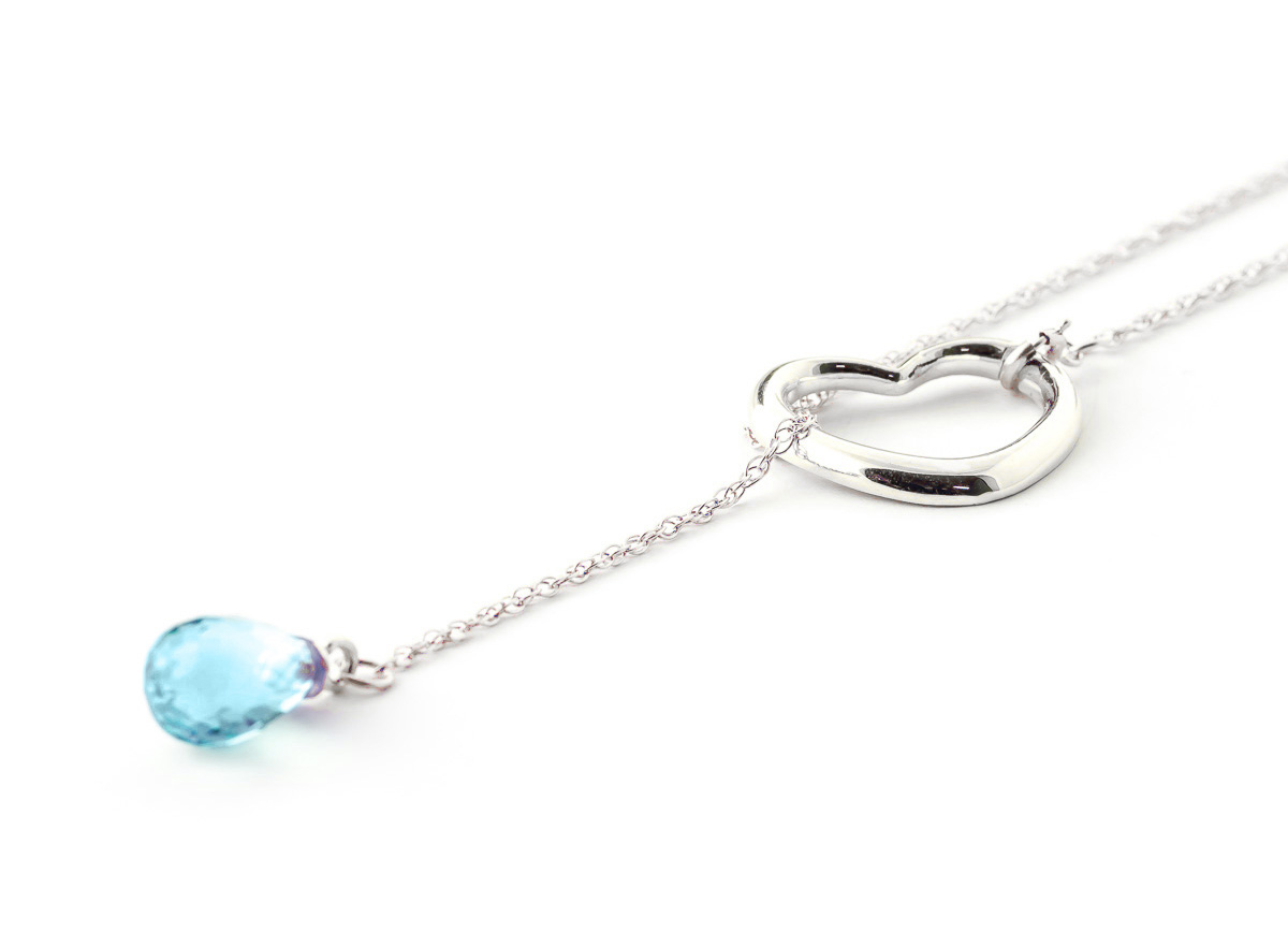 Blue Topaz Heart Drop Pendant Necklace 2.25 ct in 9ct White Gold