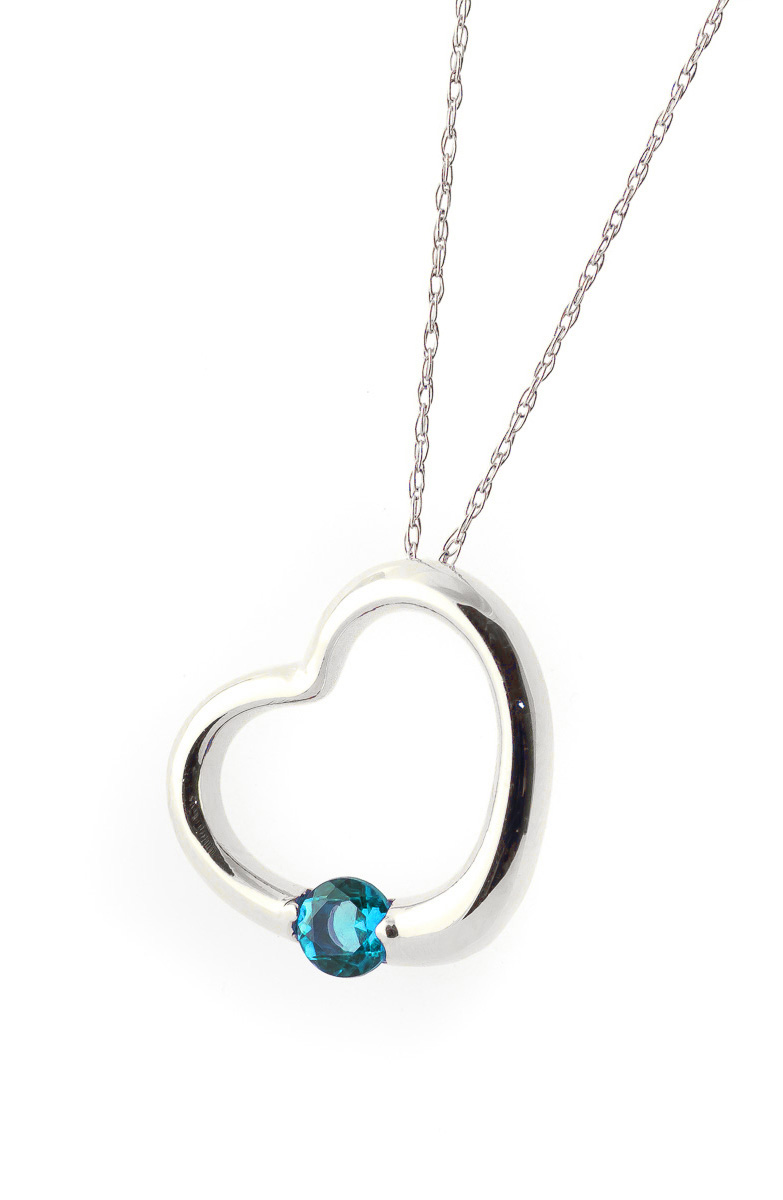 Blue Topaz Heart Pendant Necklace 0.25 ct in 9ct White Gold