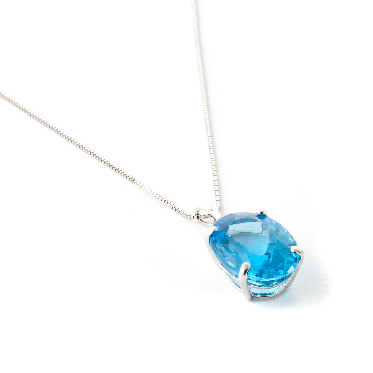 Blue Topaz Oval Pendant Necklace 8 ct in 9ct White Gold