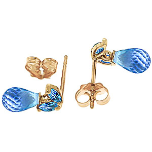 Blue Topaz Snowdrop Stud Earrings 3.4 ctw in 9ct Gold