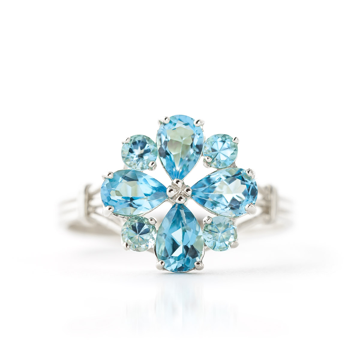 Blue Topaz Sunflower Cluster Ring 2.43 ctw in Sterling Silver
