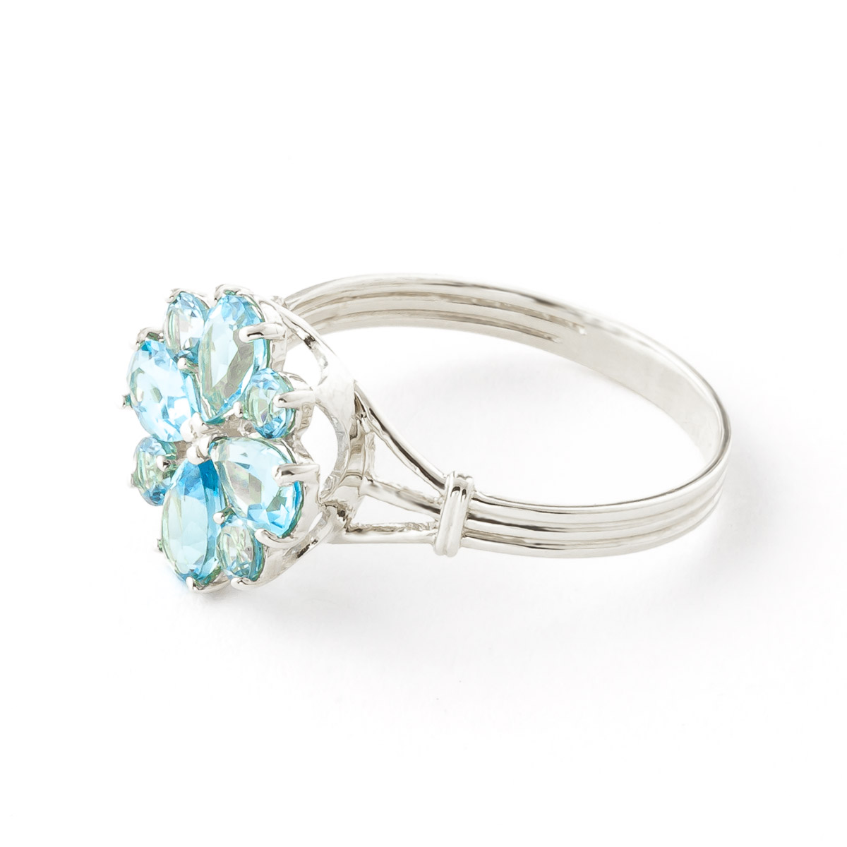 Blue Topaz Sunflower Cluster Ring 2.43 ctw in 9ct White Gold