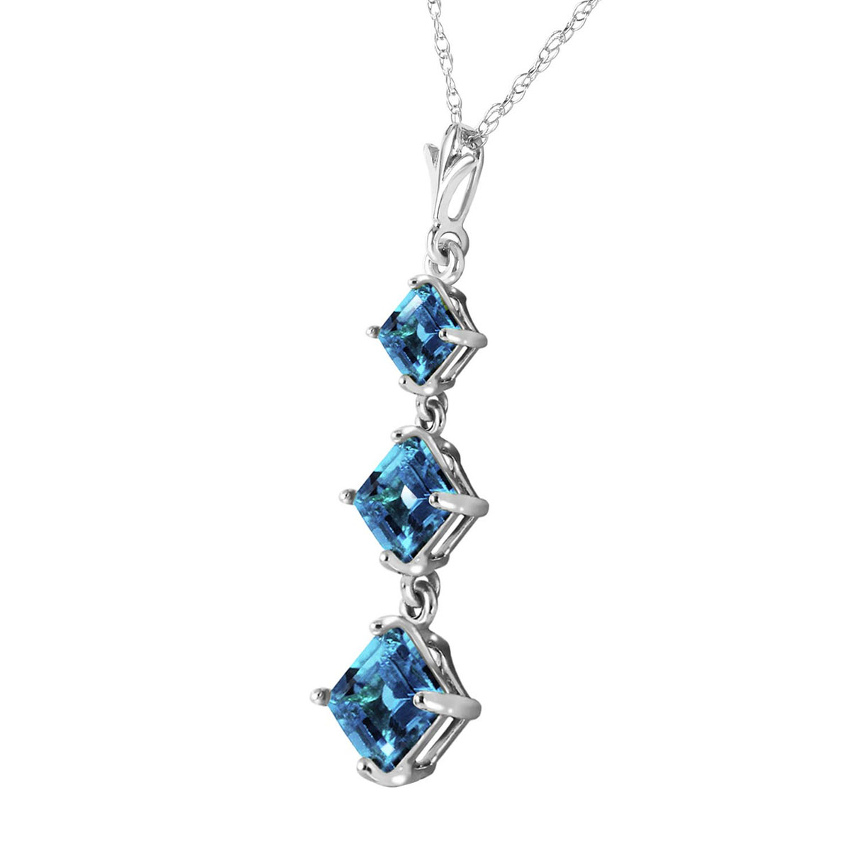 Blue Topaz Three Stone Pendant Necklace 2.4 ctw in 9ct White Gold