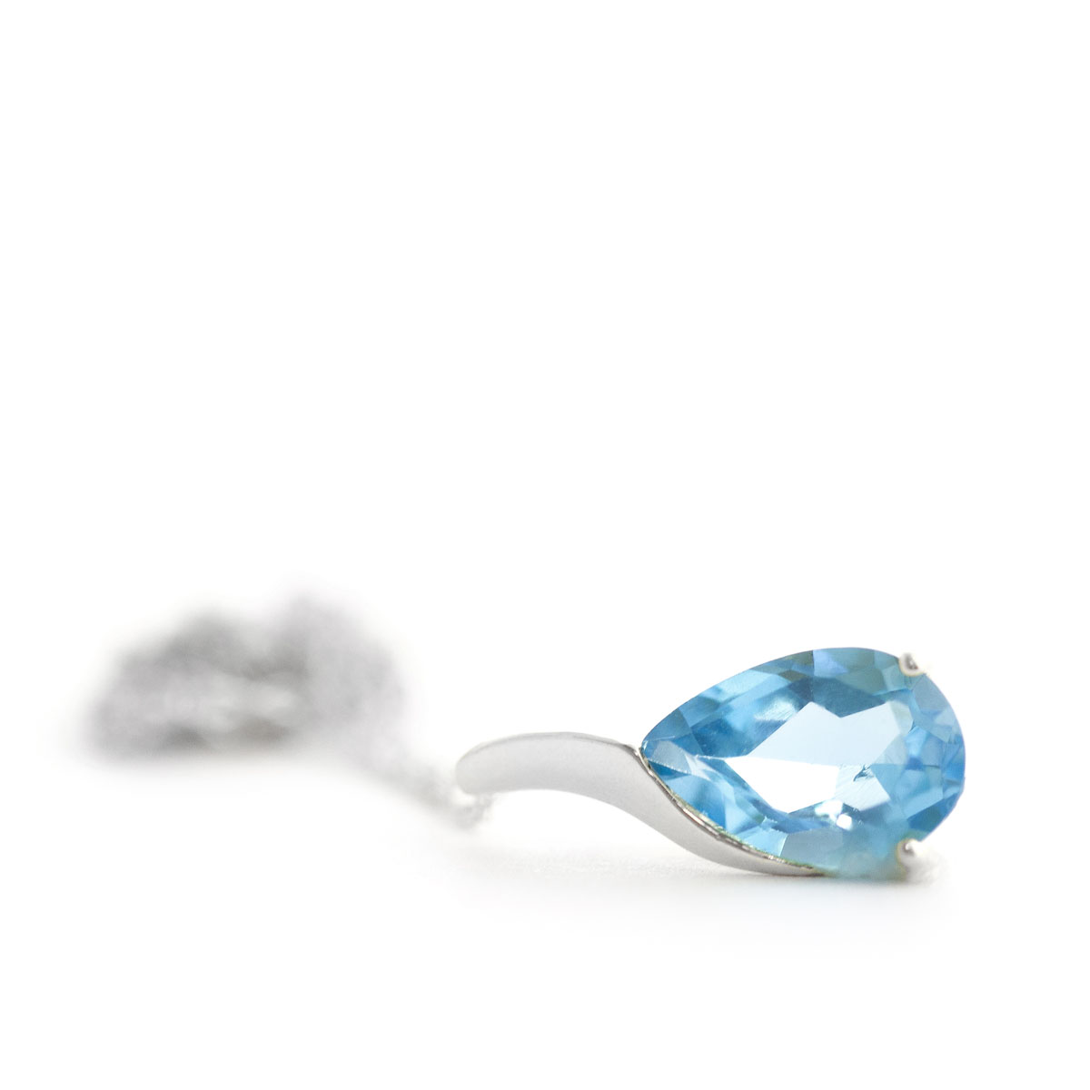 Blue Topaz Tuscany Pendant Necklace 4.7 ct in 9ct White Gold