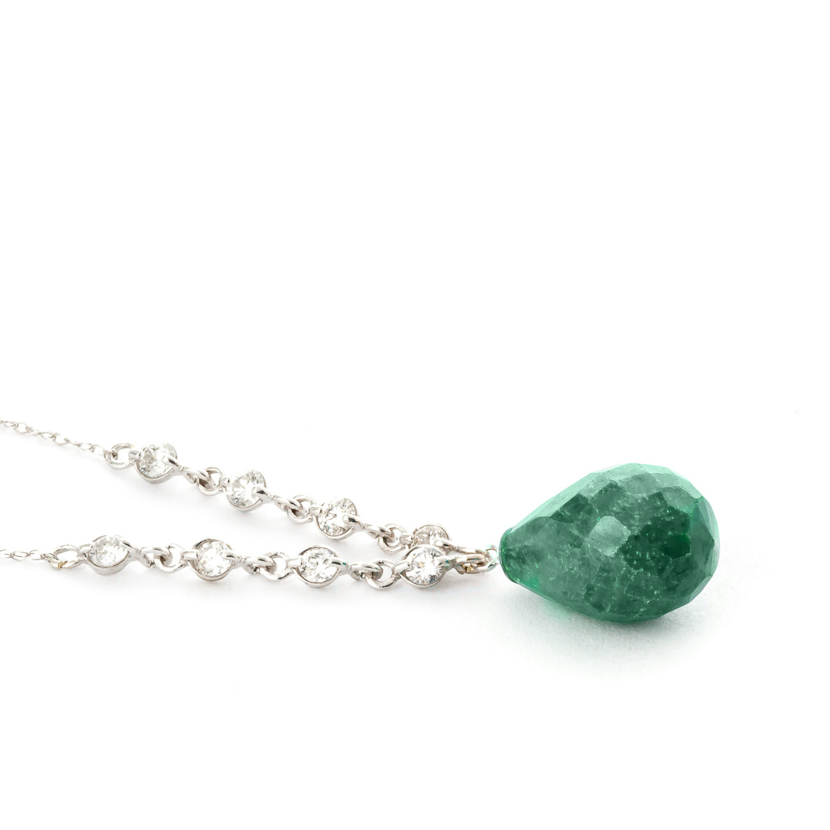 Briolette Cut Emerald Pendant Necklace 15.6 ctw in 9ct White Gold