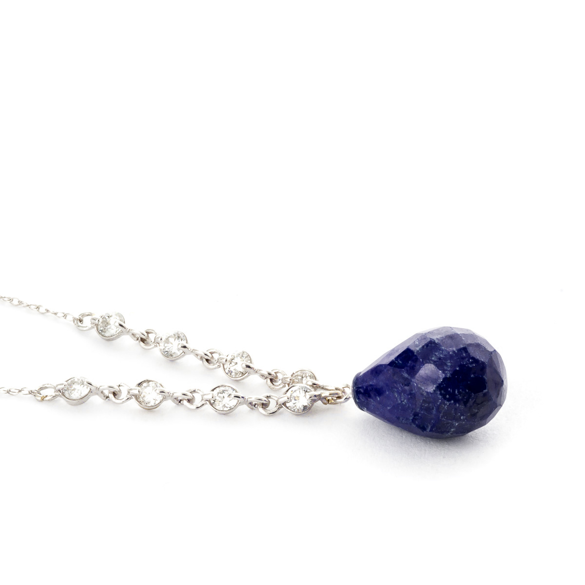 Briolette Cut Sapphire Pendant Necklace 15.6 ctw in 9ct White Gold