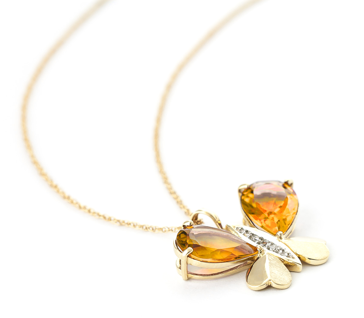 Citrine & Diamond Butterfly Pendant Necklace in 9ct Gold
