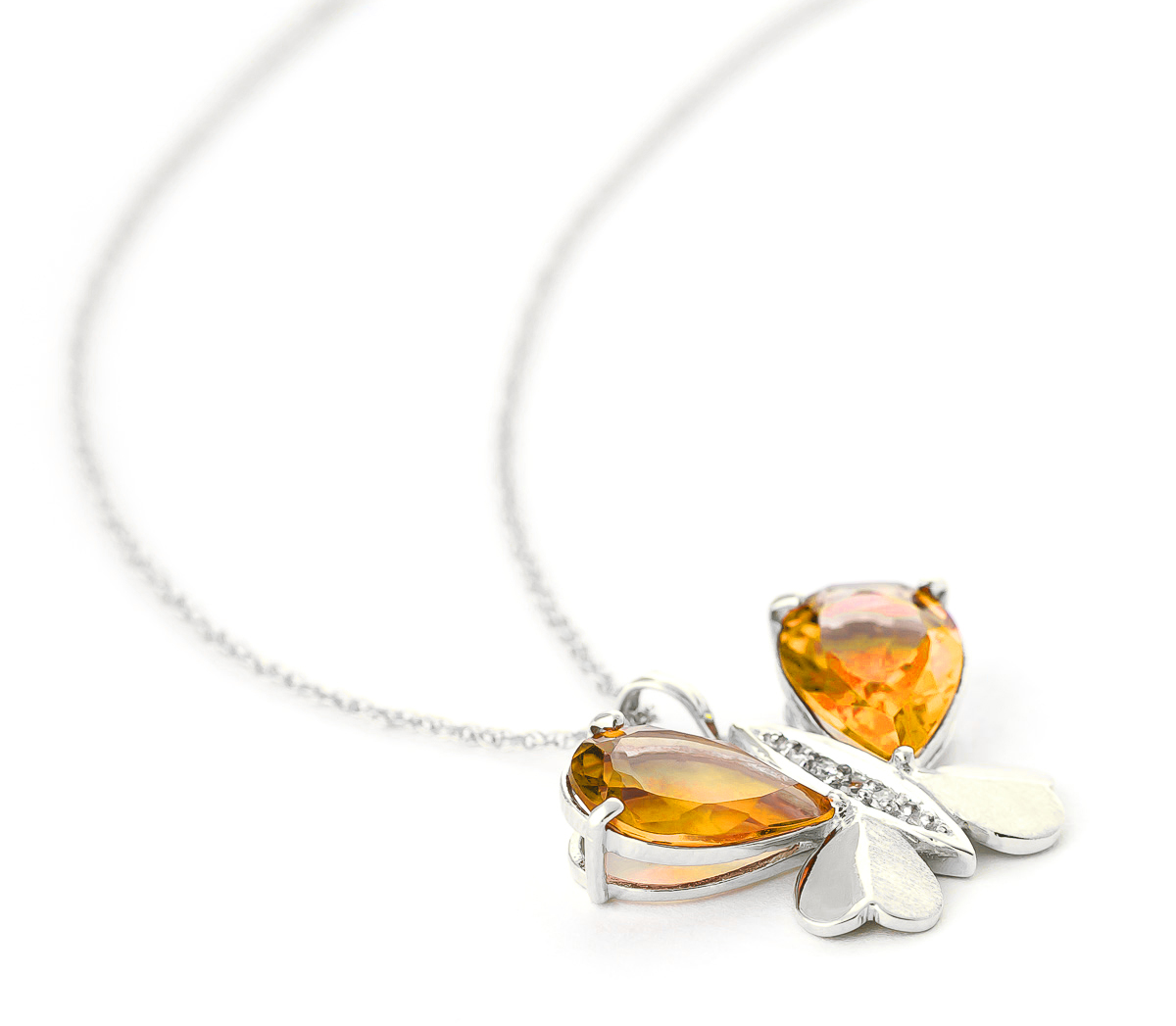 Citrine & Diamond Butterfly Pendant Necklace in 9ct White Gold