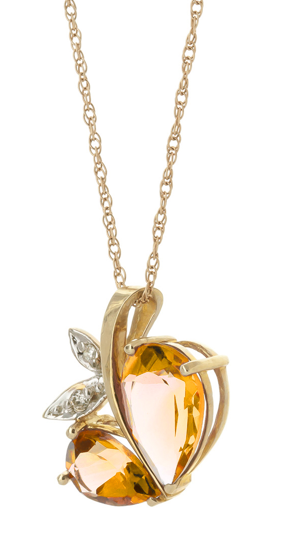 Citrine & Diamond Eternal Pendant Necklace in 9ct Gold