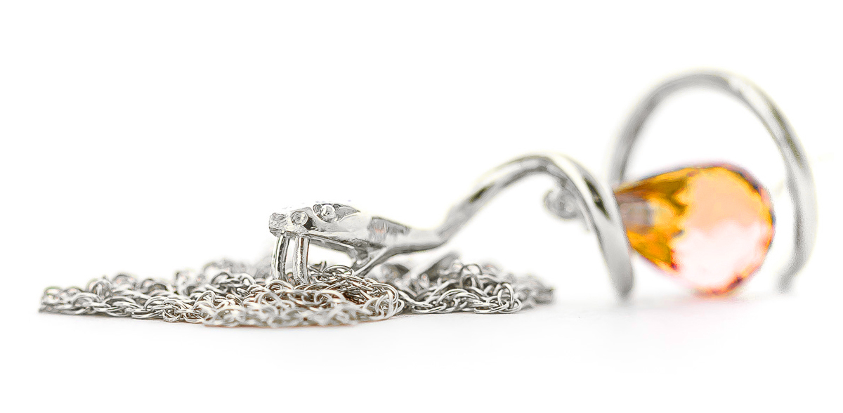 Citrine & Diamond Serpent Pendant Necklace in 9ct White Gold
