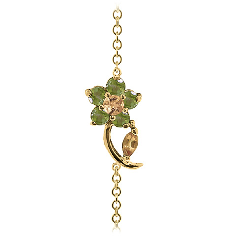 Citrine & Peridot Adjustable Flower Petal Bracelet in 9ct Gold