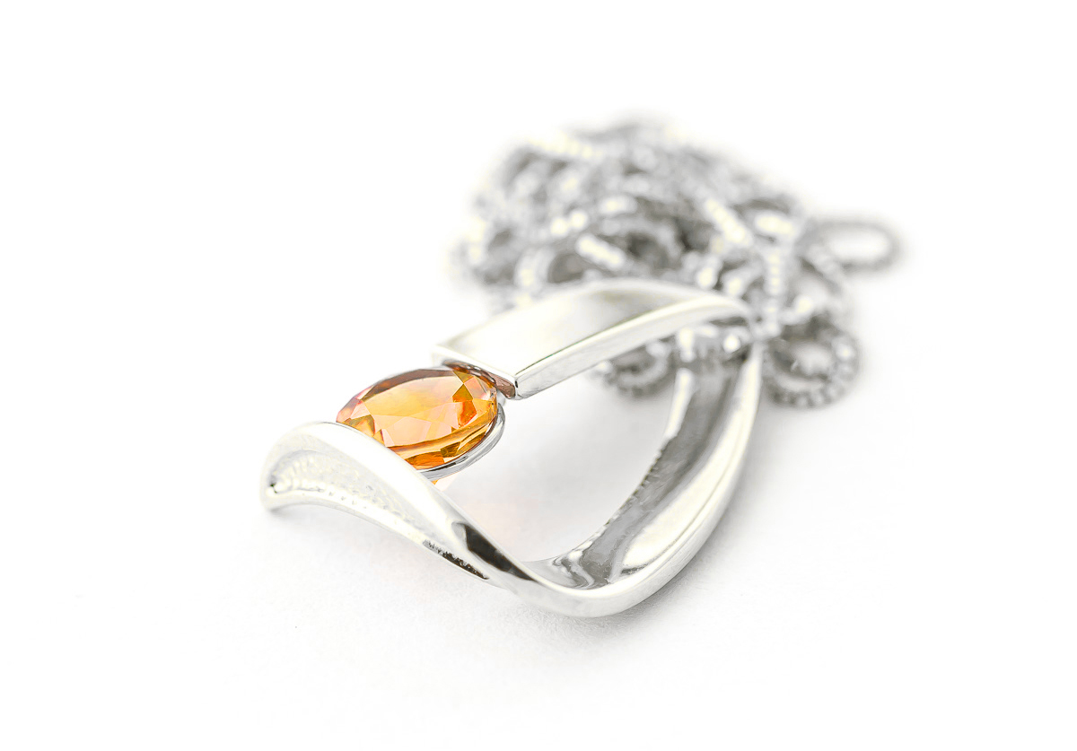 Citrine Arc Pendant Necklace 1 ct in 9ct White Gold
