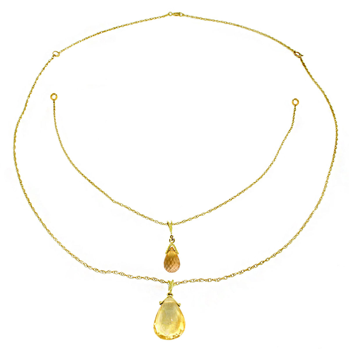 Citrine Back Drop Pendant Necklace 7.5 ctw in 9ct Gold