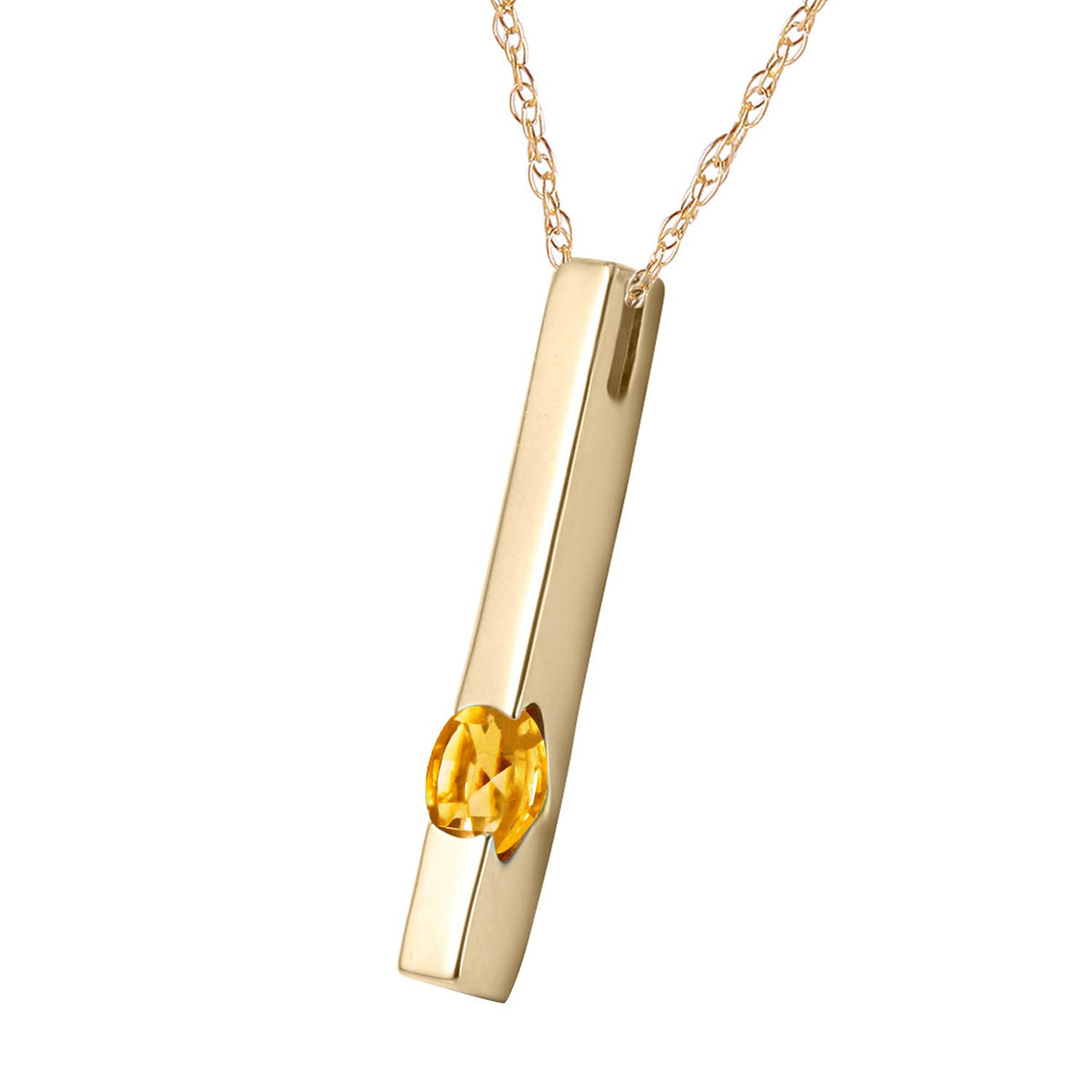 Citrine Bar Drop Pendant Necklace 0.25 ct in 9ct Gold