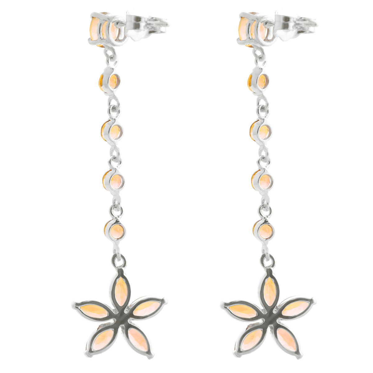 Citrine Daisy Chain Drop Earrings 4.8 ctw in 9ct White Gold
