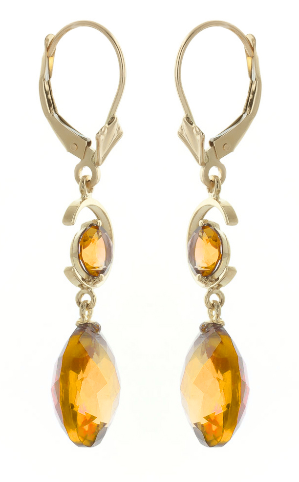 Citrine Drop Earrings 11.6 ctw in 9ct Gold