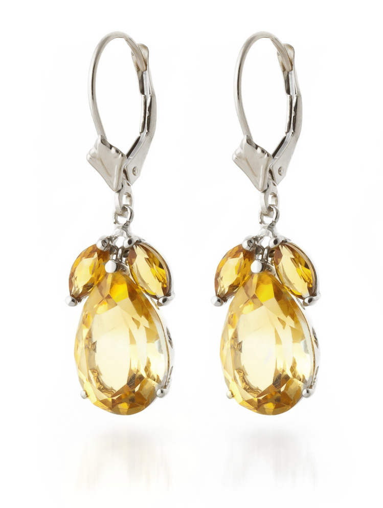 Citrine Drop Earrings 13 ctw in 9ct White Gold