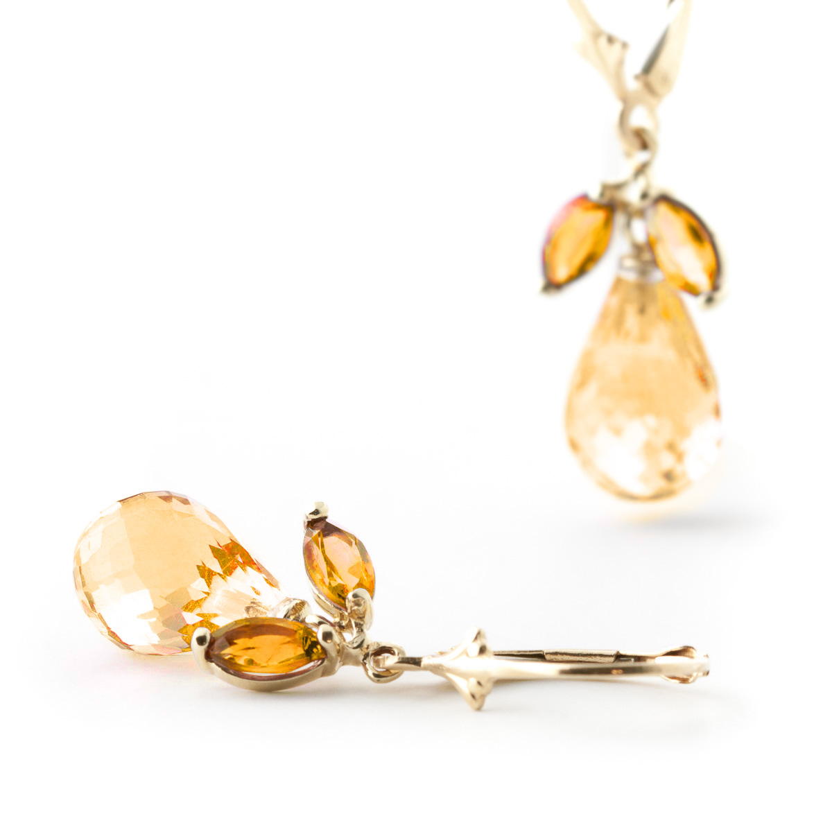 Citrine Drop Earrings 14.4 ctw in 9ct Gold