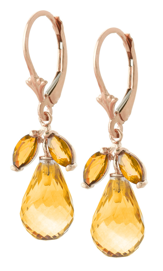 Citrine Drop Earrings 14.4 ctw in 9ct Rose Gold