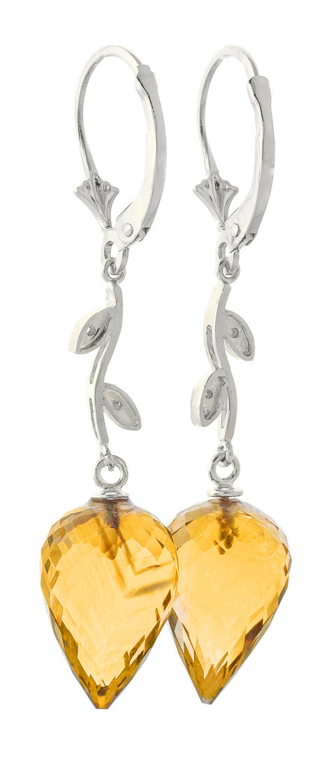 Citrine Drop Earrings 19.02 ctw in 9ct White Gold