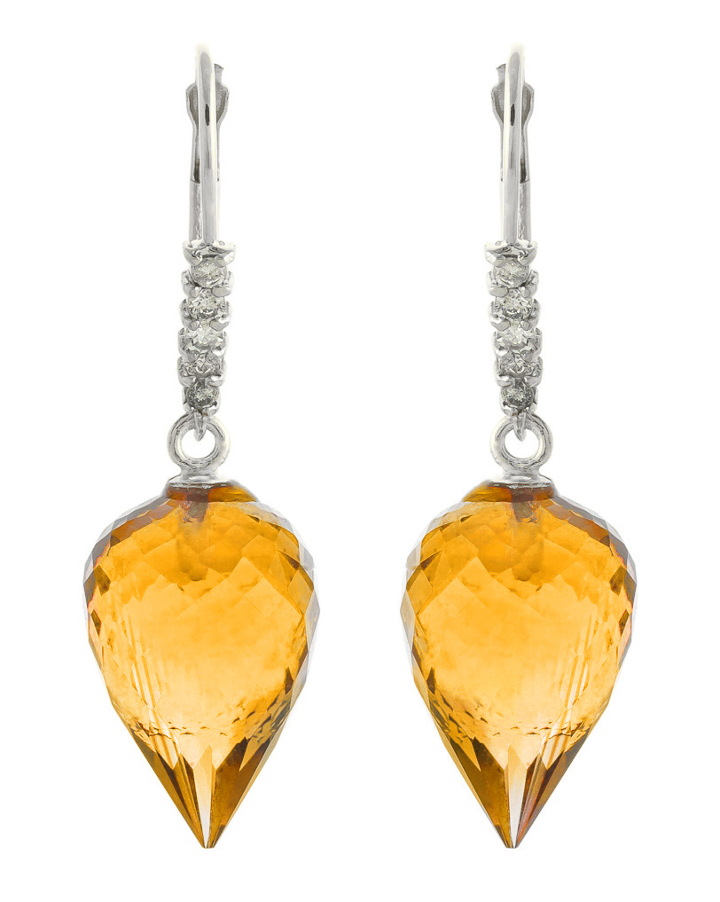 Citrine Drop Earrings 19.15 ctw in 9ct White Gold