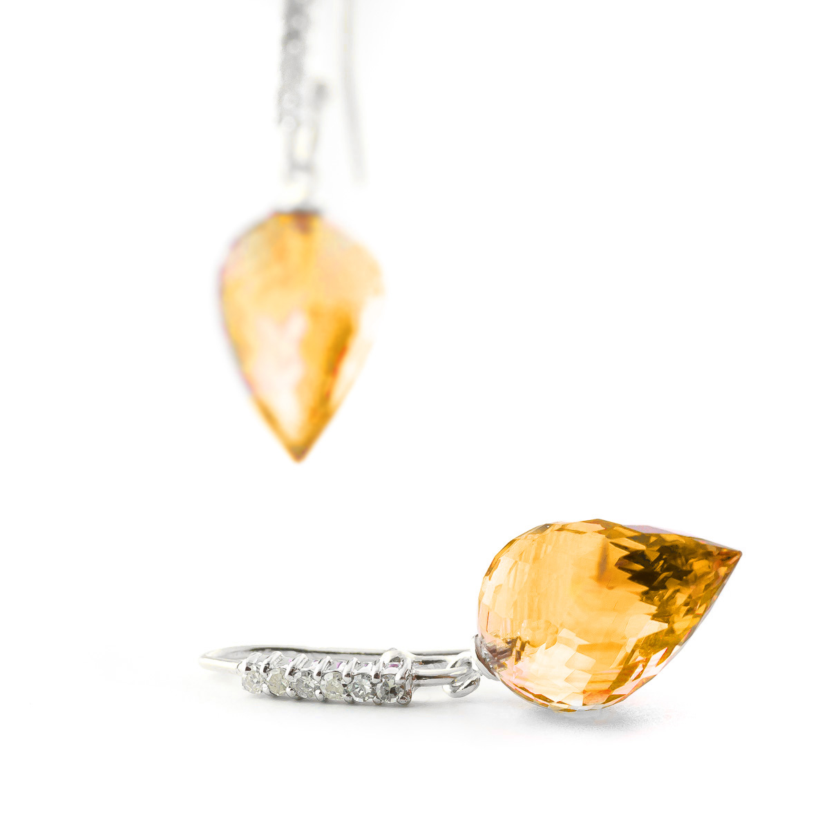 Citrine Drop Earrings 19.18 ctw in 9ct White Gold