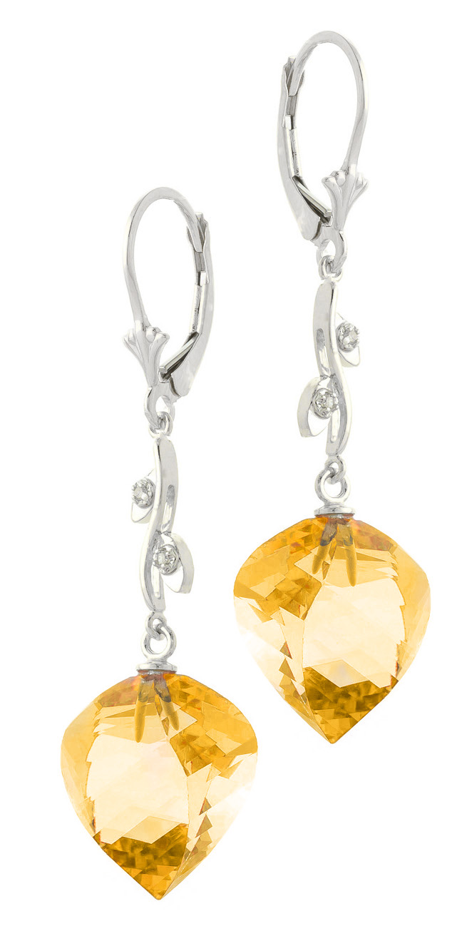 Citrine Drop Earrings 23.52 ctw in 9ct White Gold