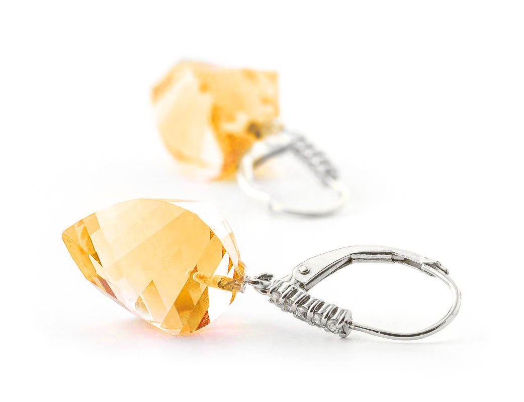 Citrine Drop Earrings 23.65 ctw in 9ct White Gold