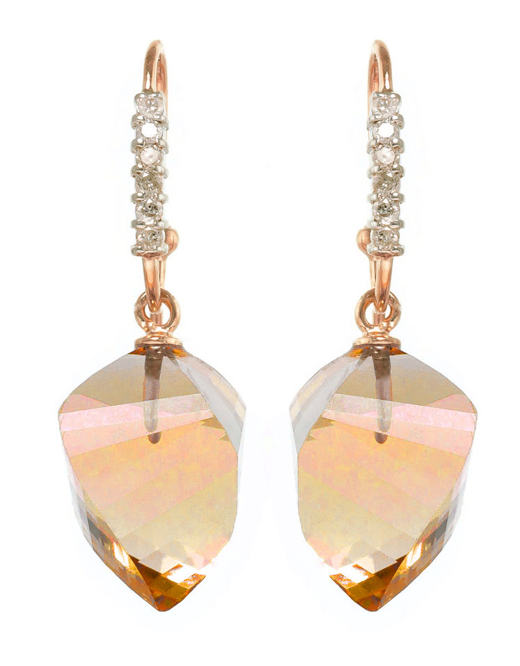Citrine Drop Earrings 23.68 ctw in 9ct Rose Gold