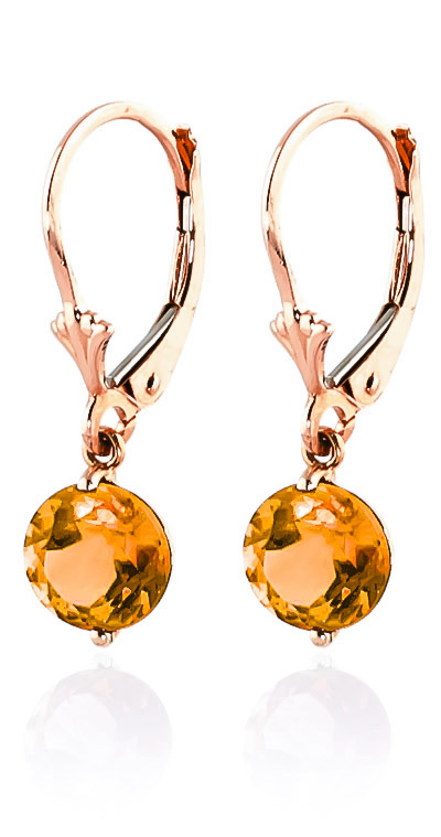 Citrine Drop Earrings 3.1 ctw in 9ct Rose Gold